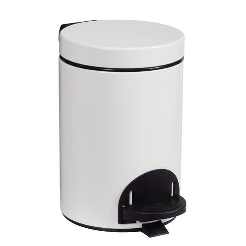 Avfallsbeholder med pedal 3 l hvit