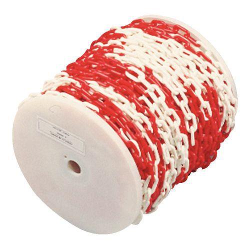 Plastkjetting rød hvit rull