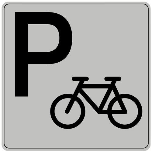 Symbolskilt pleksiglass grått sykkelparkering
