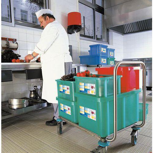 Plastbakk med lokk med lokk, for livsmedel 35-55 l