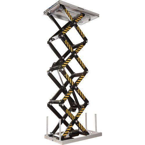 Løftebord med vertikal firedobbel saks