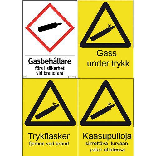 Varselskilt: Gass under trykk, fargeetterlysende
