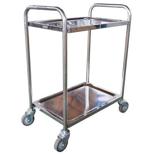 Vogn i rustfritt stål - 2 nivåer - kapasitet 100 kg - Manutan