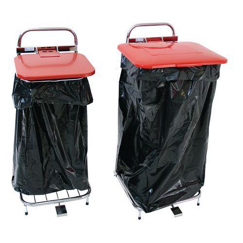 Søppelstativ med to hjul og pedal